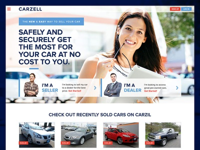 Carzell Homepage rotator homepage cars startup hover state flat design responsive slider