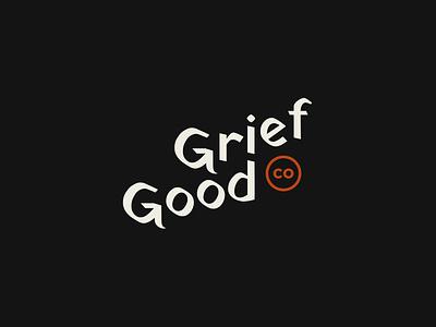 Good Grief branding orange dark black  white typogaphy wordmark logo