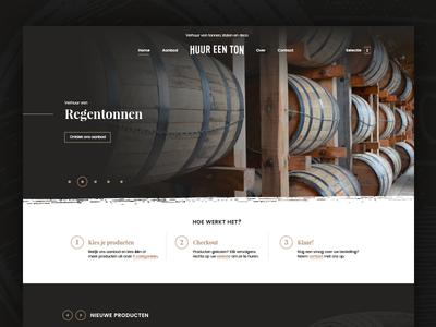 WIP homepage for Rent-a-Barrel web wood belgium ui interface dark barrel wip homepage webdesign website