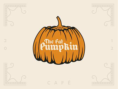 The Fat Pumpkin - Sticker Mule Rebound medieval beer bar cafe blackletter orange pumpkin fat halloween