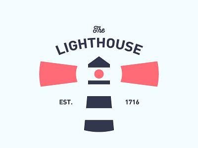 The Lighthouse coaster logo light red blue light blue lighthouse