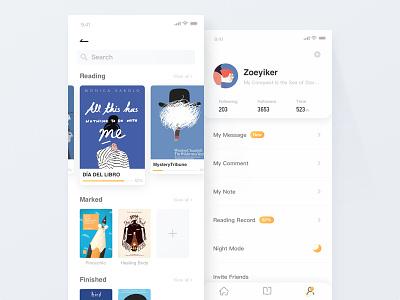 Book app - Reading Record mine record blue ui design list clean yellow book