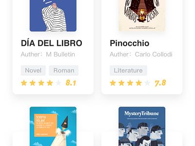 Book app - List1 detail blue ui design list clean yellow book