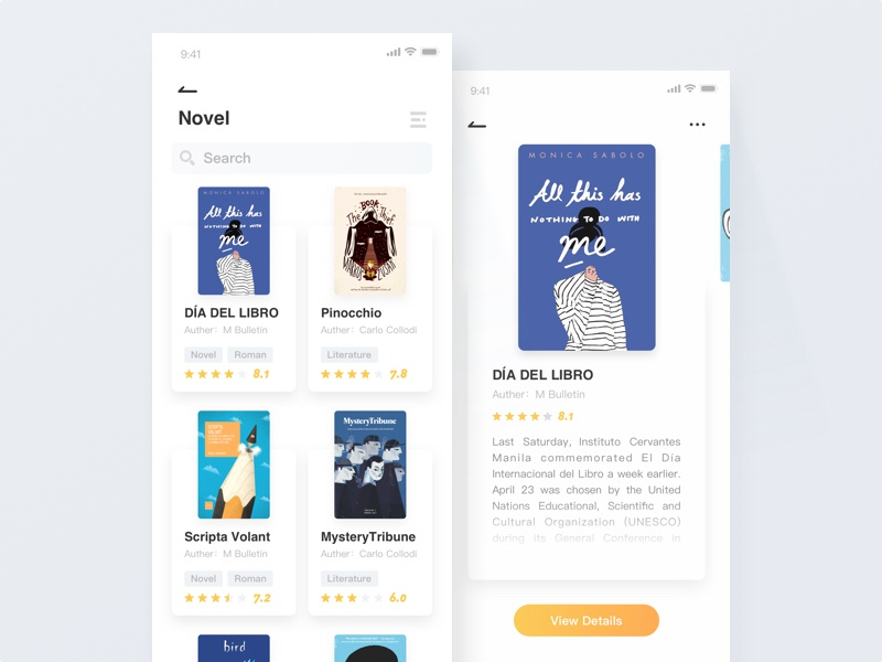 Book app - List1 detail blue ui design list clean yellow book