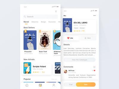 Book app - Bookshelf+Detail catalogue comment rank bookshelf detail blue ui design list clean yellow book