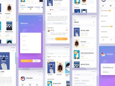 Book App UI gather purple all blue ui design clean yellow book