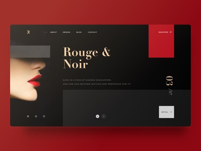 Website-Rouge&Noir yiker redscarf woman layout lips color golden black red page web