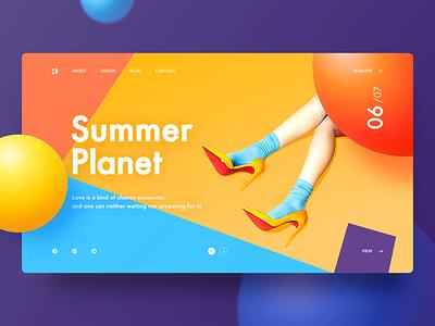 website4-Summer Planet yiker page woman purple blue ball orange summer web
