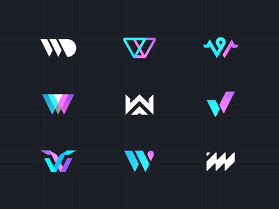 W - logo yiker icon white line dark purple blue game w ui logo