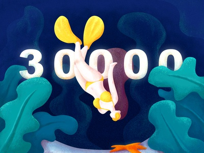 30000followers—Free Diving woman blue green yellow ocean diving follower illustrator