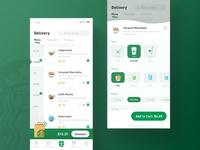 Starbucks Redesign_Delivery design green coffee app clean yiker ui