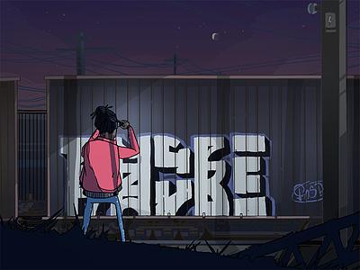 A photo blue night red blazer photographer illustration drawing graffiti