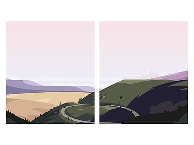 Diptych soft light soft tones field diptych dyptique france road landscape design pastel illustrator illustration landscape