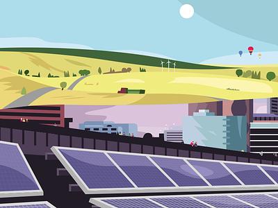 Landscapes #1 purple yellow solar panel flat illustration flat design minimal illustrator landscape