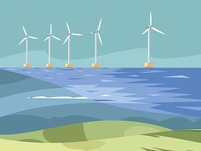 Landscapes #2 composition sky calm flat illustration illustrator minimal plane sea landscape