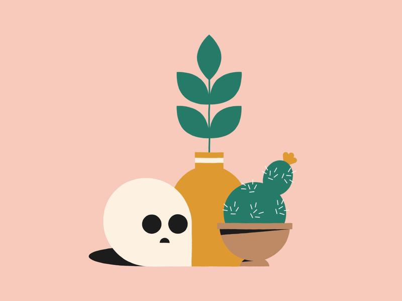 Still Life pots cactus plants still life skull illustration