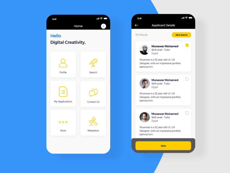 Job order App mobile user interface xd adobexd ux uidesign cards menu ui app