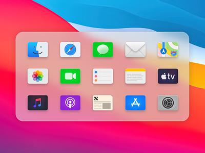 Big Sur Icon Refresh #2 big sur macos icons macos icon finder mail envelope terminal code dock apps figma app icons apple ui app