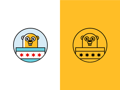 Go Chicago Gopher! icon super flat illustration logo gopher golang go