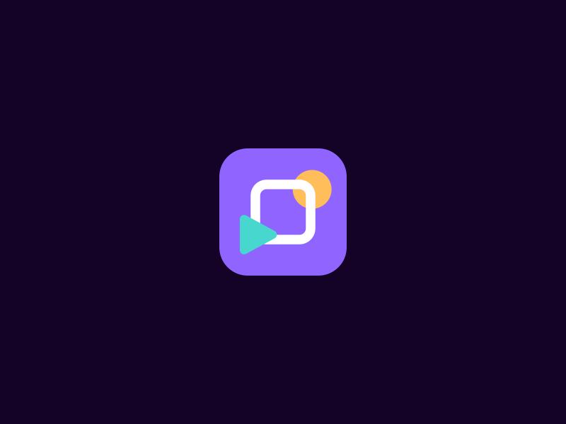 Movies stuff iOS app movies simple minimalist yellow purple ios identity icon apple