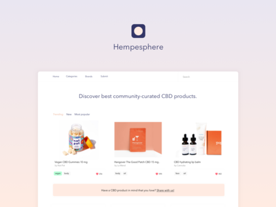 Hempeshpere - community-curated collection of CBD products cbd oil cbd minimal gradient shopping product identity branding design ui