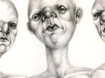 Three Graces graphite illustration