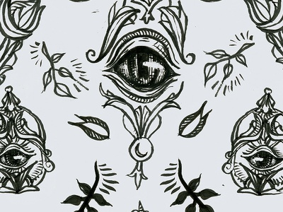 Fauxculte pattern pen illustration drawing occult