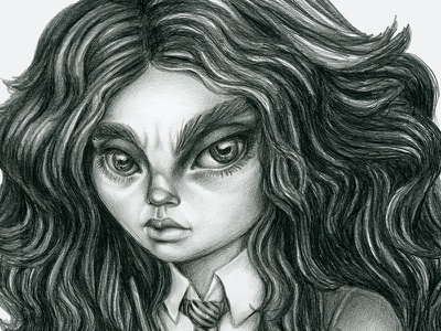 Teen Witch illustration graphite pencil drawing