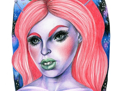 Space Case colored pencil pencil space drawing female portrait illustration