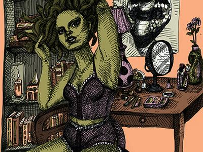A Gorgon at her Leisure illustration hatching crosshatching ink art drawing medusa mythology gorgon