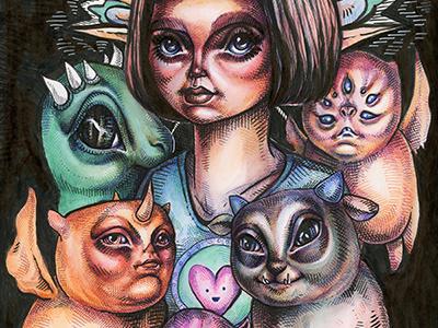 St Judith of the Monsters inkwash artwork art illustration drawing ink