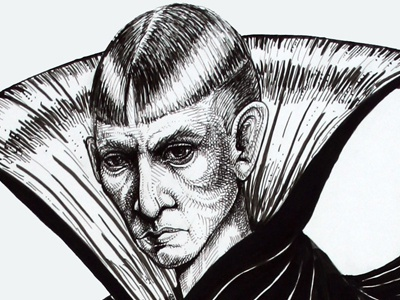 A perturbed vampire type. illustration pen and ink cross-hatching