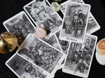 The Dog Tarot Deck hatching pen and ink crosshatching artwork ink art black and white drawing pen illustration dog