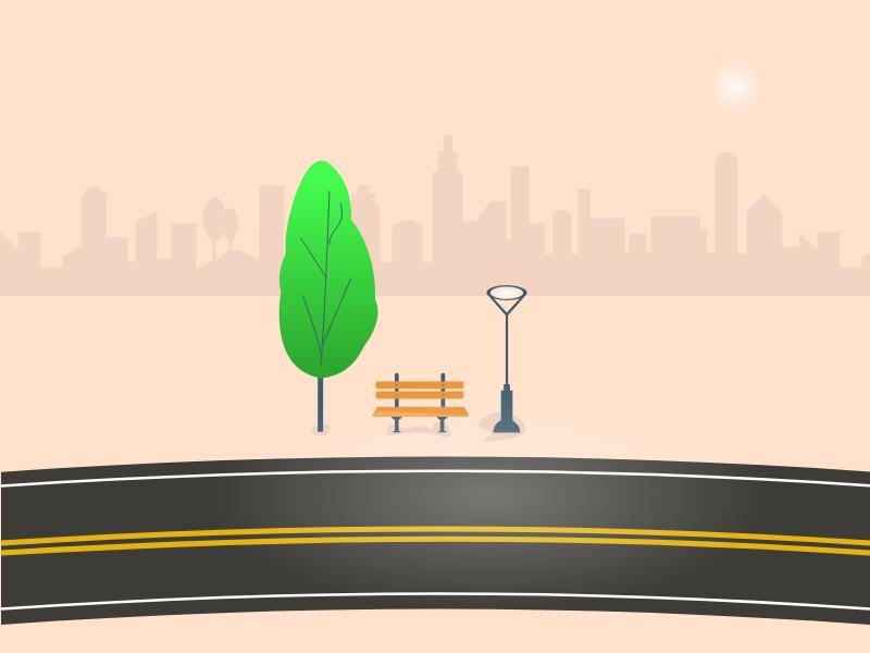 Road Light road design illustration