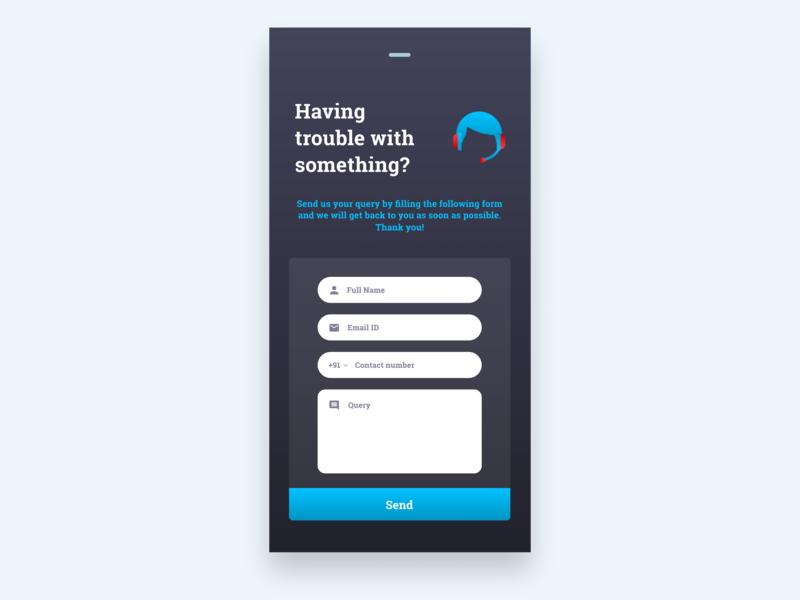 HELPDESK DARK UI helpdesk contact form app ui design user experience design user interface design