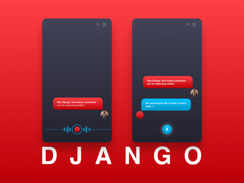 Django - Makes your life more easier and funnier ai assistant ios android ui app user experience design user interface design