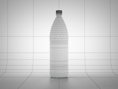 3D Bottle - Cooking Oil Wireframe