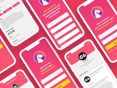 Desafio UX Unicórnio user experience mobile ui design uxdesign uidesign uiux ui