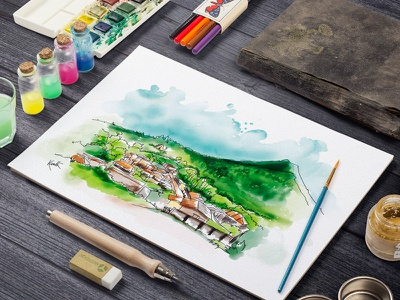 Watercolor india paint landscape village color ink drawing sketch illustration art painting watercolor