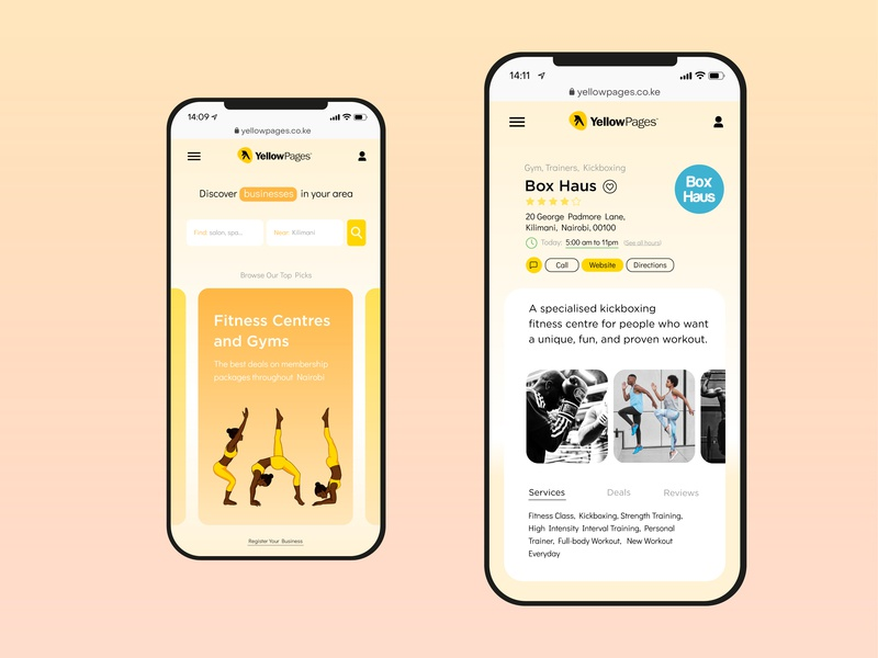 Yellow Pages Concept branding mobile ui layout design uidesign dailyui006 dailyui design