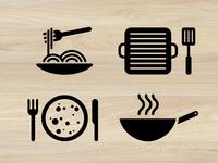 Pasta, grill, pancakes, wok