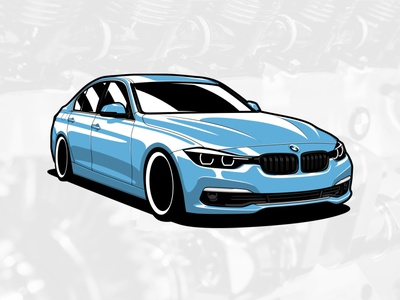 BMW F30 3 series artwork automobile graphicdesign art drawing car illustration design vector logo