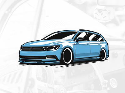 VW Passat B8 ABT artwork automobile graphicdesign art drawing car illustration design vector logo