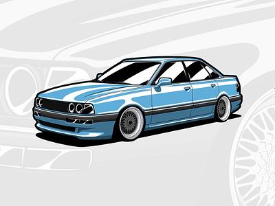 Audi B3 90 style carillustration auto automobile automotive classic audi art drawing car illustration design vector logo