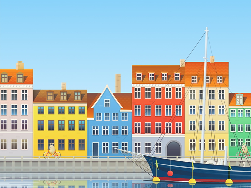 Copenhagen illustration for Hopper drawing city illustration vector app holiday flight vacation copenhagen travel hopper