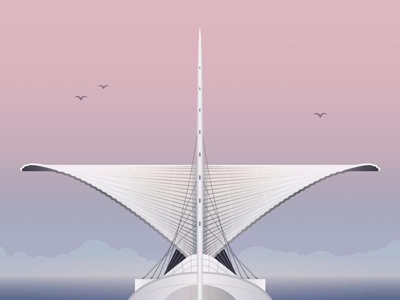 Milwaukee, Wisconsin illustration for Hopper travel architecture illustrator drawing illustration vector hopper milwaukee museum of art santiago calatrava milwaukee