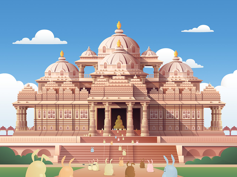Ahmedabad, India illustration for Hopper vector illustration vector drawing landscape travel illustrator illustration vector hopper
