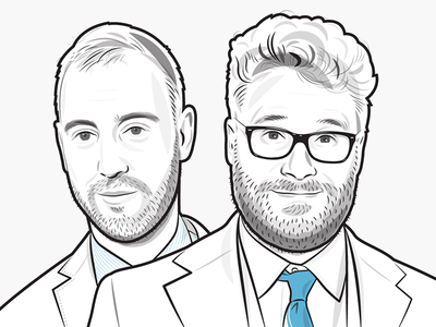 Seth Rogen and Evan Goldberg vector illustration