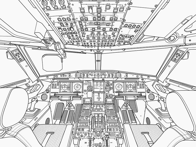Airbus A320 Cockpit vector drawing technical illustration illustration illustrator vector cockpit airplane