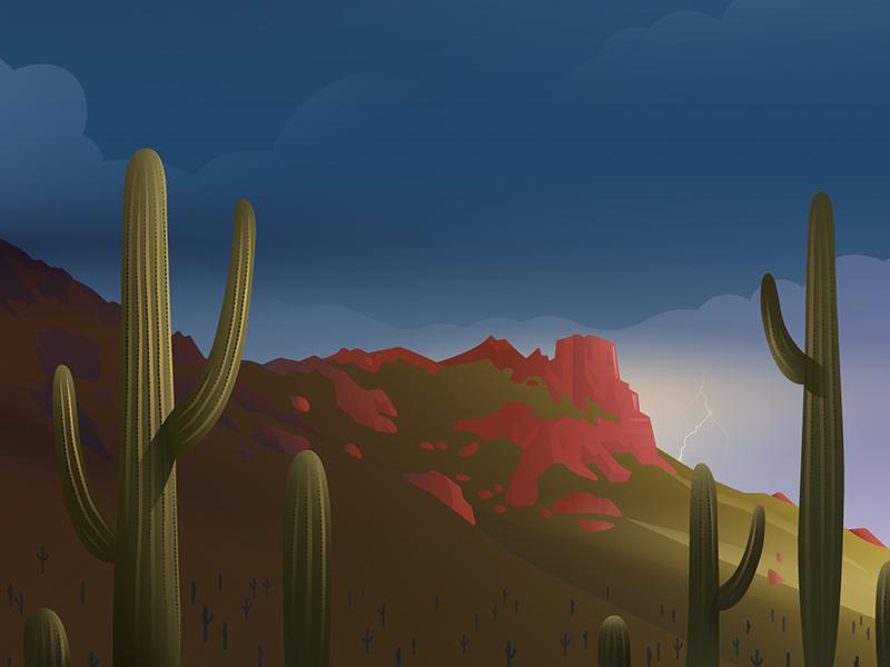 Phoenix, AZ vector illustration landscape cactus arizona desert drawing travel hopper illustrator illustration vector